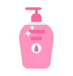 Plastic bottle with liquid soap flat vector