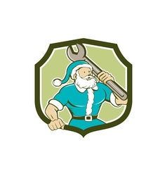 Santa claus mechanic spanner shield cartoon vector