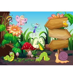Scene with different types of bugs vector