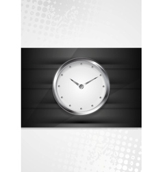 Silver wall clock on black stripes vector image vector image