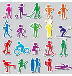 Sport silhouettes color simple stickers set eps10 vector