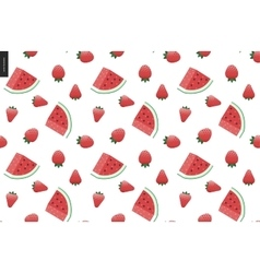 Strawberries and watermelon seamless vector image vector image