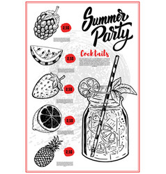 Summer cocktails menu cover layout menu vector