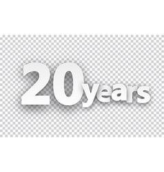 Twenty years paper sign vector image vector image