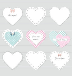 Cute lacy textile hearts set vector