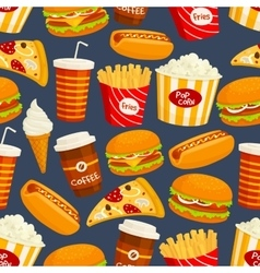 Fast food snacks and drinks seamless pattern vector image