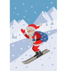 Skiing santa on the slope mountain vector