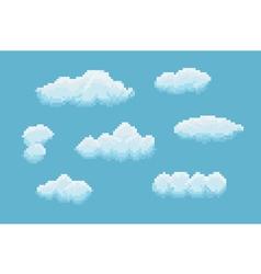 Pixel Art Clouds vector image