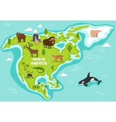 North american map with wildlife animals vector