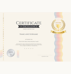 Certificate of excellence template colorful wave vector