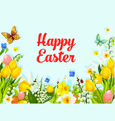 Easter spring flowers holiday greeting card vector