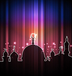 Cute shine card with mosque vector