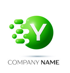 y letter splash logo green dots and circle bubble vector image