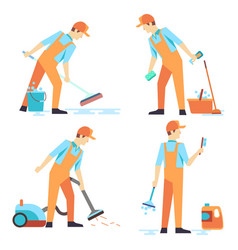 Flat men staff of cleaning service isolated on vector