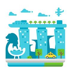 flat design singapore landmarks vector image