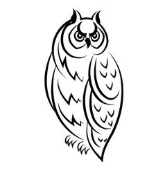 Sketch of an owl bird vector image