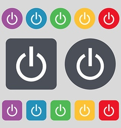 Power icon sign a set of 12 colored buttons flat vector