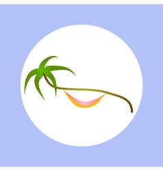 Palm and hammock in circle vector
