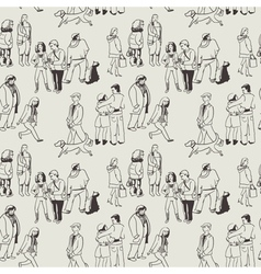 Pattern with group of people vector