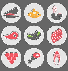 Seafood and fast food snacks vector