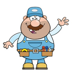 Waving Mechanic Cartoon vector image