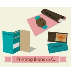 Print icons set4 vector