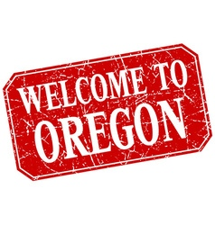 Welcome to oregon red square grunge stamp vector