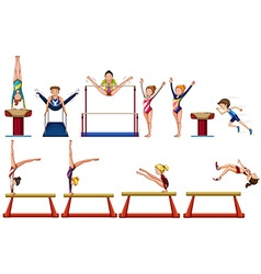 Different types of gymnastics with equipments vector