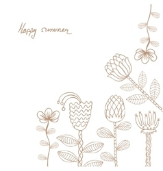 Hand drawn floral template card vector