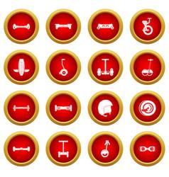 Balancing scooter icon red circle set vector