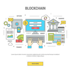 Blockchain concept finance banner with bitcoins vector