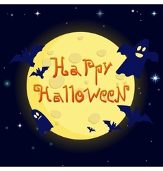 cartoon happy halloween on background of the moon vector image vector image