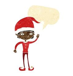 Cartoon waving christmas elf with speech bubble vector