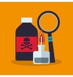 Colorful poison bottle lupe and laboratory design vector