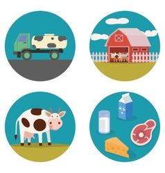 Dairy products flat vector image vector image