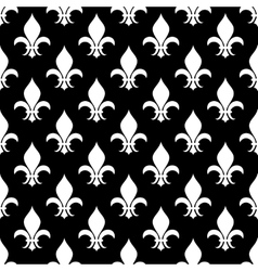 Fleur de lis seamless pattern in black and vector