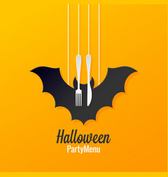 halloween menu logo design background vector image