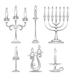 Hand drawn candlesticks vector
