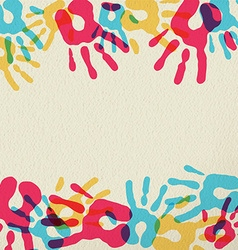 Hand print art of diversity people community vector