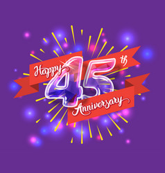 Happy 45th anniversary glass bulb numbers set vector