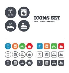 Hotel services icon washing machine hairdresser vector