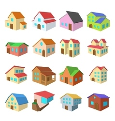 Houses cartoon icons set vector image