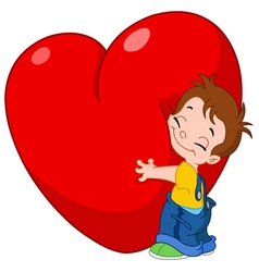 Kid hug heart vector