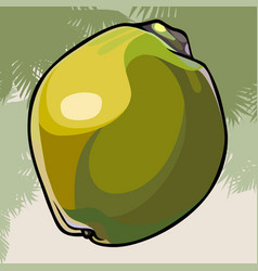 Large painted coconut in a green peel vector
