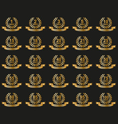 Laurel wreaths collection jubilee from 1 to 100 vector