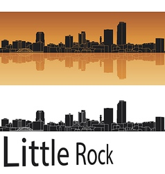 Little rock skyline in orange background vector