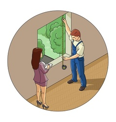 Man and woman measure window vector