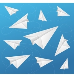 Paper aircraft fly on blue background vector