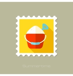 Sand bucket and shovel flat stamp with long shadow vector