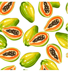 seamless pettern with papaya isolated on white vector image vector image